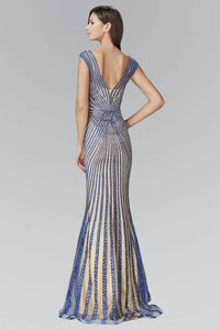 Elizabeth K GL2053D Open Back Striped Bead Embellished Sheer Overlay Full Length Satin Gown in Royal Blue Nude