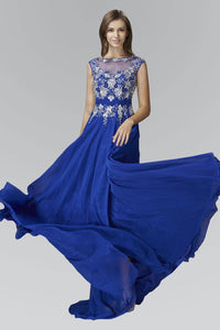Elizabeth K GL2056D Contrast Jewel Embellished Bateau Illusion Top Full Length Gown in Royal Blue - SohoGirl.com