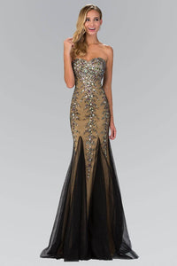 Elizabeth K GL2067Y Strapless Sweetheart Jewel Embellishment Full Length Gown with Back Corset in Black Gold - SohoGirl.com