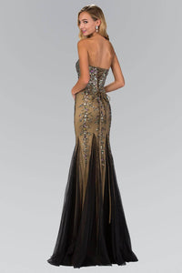 Elizabeth K GL2067Y Strapless Sweetheart Jewel Embellishment Full Length Gown with Back Corset in Black Gold - pallawashop.com