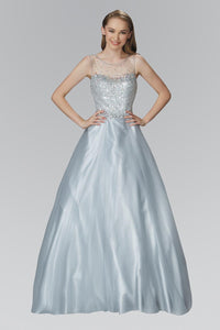 Elizabeth K GL2111 Quinceanera A-Line Long Dress with Sequin Embellished Sheer Bodice and back In Silver