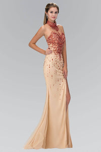 Elizabeth K GL2147X Choker Halter Jewel Embellished Side Slit Full Length Mesh Jersey Gown in Red Nude - SohoGirl.com