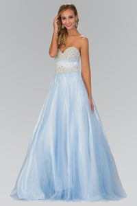 Elizabeth K GL2155 Quinceanera Beads and Pearls Embellished Bodice In Baby Blue - SohoGirl.com
