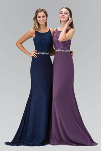 Elizabeth K GL2163T Belted Floral Lace Racer Neck Full Length Chiffon Gown in Eggplant