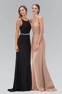 Elizabeth K GL2163T Belted Floral Lace Racer Neck Full Length Chiffon Gown in Tan - SohoGirl.com