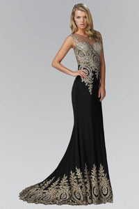 Elizabeth K GL2166P Stunning Beaded Embellishment Jersey Floor Length Gown in Black - SohoGirl.com