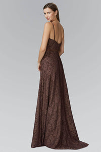Elizabeth K GL2170T Belted Scooped High Neck Full Length Floral Lace Gown in Brown