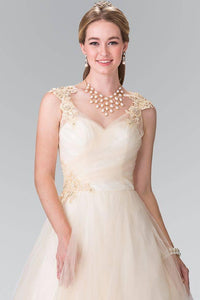 Elizabeth K GL2202 Embroidery Mesh Wedding Dress with Corset Back in Champagne - SohoGirl.com