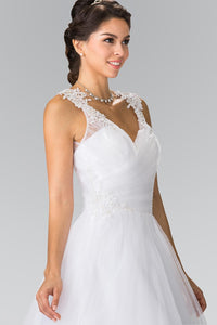 Elizabeth K GL 2202 Sweet hearted Embroidery Mesh Wedding Dress with Corset Back In White - SohoGirl.com