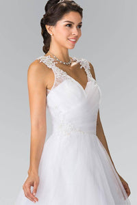 Elizabeth K GL2202 Embroidery Mesh Wedding Dress with Corset Back in White