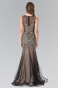 Elizabeth K GL2203 Sleeveless Embroidered Formal Dress in Black