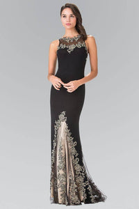 Elizabeth K GL2204 High Neck Dress Accented with Embroidery in Black - SohoGirl.com