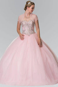 Elizabeth K GL2205 Mesh Skirt Quinceanera Dress with Beaded Details in Pink