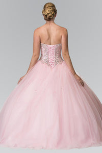 Elizabeth K GL2205 Mesh Skirt Quinceanera Dress with Beaded Details with Matching Bolero in Pink