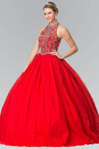 Elizabeth K GL2206 Full Skirt High Neck Quinceanera Dress in Red