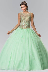 Elizabeth K GL2207 Sweetheart Illusion Embroidered Quinceanera Dress with Bolero in Mint - SohoGirl.com