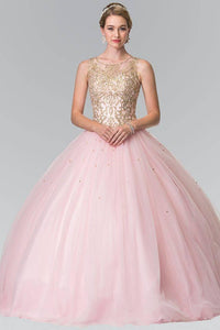 Elizabeth K GL2207 Sweetheart Illusion Embroidered Quinceanera Dress with Bolero in Pink