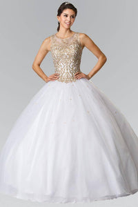 Elizabeth K GL2207 Sweetheart Illusion Embroidered Quinceanera Dress with Bolero in White - SohoGirl.com