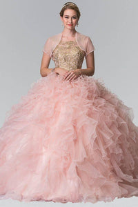 Elizabeth K GL2208 Embroidered and Beaded Ruffle Skirt Quinceanera Dress in Blush - SohoGirl.com