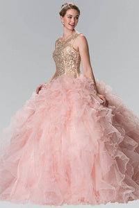 Elizabeth K GL2208 Embroidered and Beaded Ruffle Skirt Quinceanera Dress in Blush