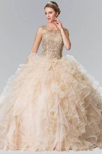 Elizabeth K GL2208 Embroidered and Beaded Ruffle Skirt Quinceanera Dress in Champagne - SohoGirl.com