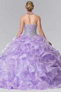 Elizabeth K GL2209 Ruffled Organza Quinceanera Dress in Lilac - SohoGirl.com