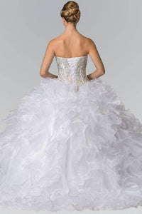 Elizabeth K GL2209 Ruffled Organza Quinceanera Dress in White