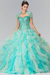 Elizabeth K GL2210 Two-Toned Tulle Quinceanera Dress with Bolero in Tiffany