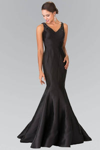 Elizabeth K GL2212 Beaded Strap Mermaid Tail Gown in Black