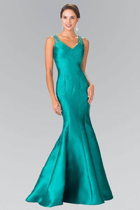 Elizabeth K GL2212 Beaded Strap Mermaid Tail Gown in Green - SohoGirl.com