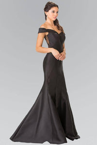 Elizabeth K GL2213 Off the Shoulder Lace Sheer Back Dress in Black - pallawashop.com