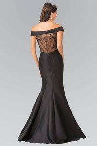 Elizabeth K GL2213 Off the Shoulder Lace Sheer Back Dress in Black - SohoGirl.com