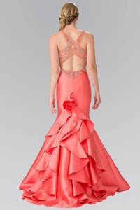Elizabeth K GL2214 Ruffle-Back Sweetheart Dress in Coral