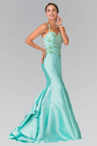 Elizabeth K GL2214 Ruffle-Back Sweetheart Dress in Tiffany - SohoGirl.com