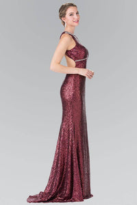 Elizabeth K GL2217 Open Back Sequin Embellished Dress in Burgundy - SohoGirl.com