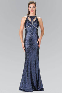 Elizabeth K GL2217 Open Back Sequin Embellished Dress in Navy - SohoGirl.com