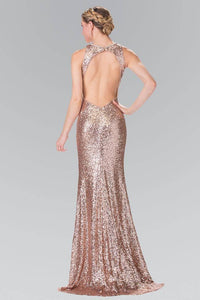 Elizabeth K GL2217 Open Back Sequin Embellished Dress in Rose Gold