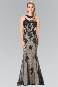 Elizabeth K GL2220 Embroidered Long Mermaid Dress with High Neck Illusion Sweetheart in Black - SohoGirl.com