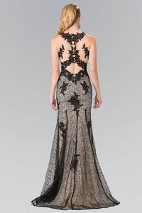 Elizabeth K GL2220 Embroidered Long Mermaid Dress with High Neck Illusion Sweetheart in Black