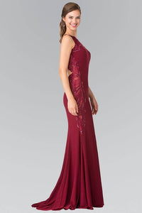 Elizabeth K GL2222 Open Back Side Embroidered Jersey Dress in Burgundy