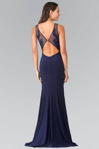 Elizabeth K GL2222 Open Back Side Embroidered Jersey Dress in Navy - SohoGirl.com