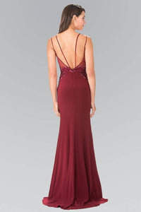 Elizabeth K GL2223 Embroidered Long Dress with Side Slit in Burgundy