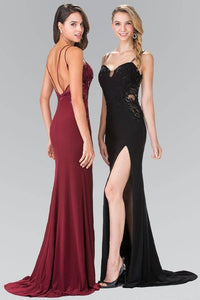 Elizabeth K GL2223 Embroidered Long Dress with Side Slit in Black - SohoGirl.com