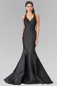 Elizabeth K GL2224 V-Neck Long Dress with Ruffles in Black - SohoGirl.com
