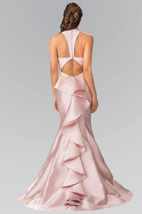 Elizabeth K GL2224 V-Neck Long Dress with Ruffles in Blush - SohoGirl.com