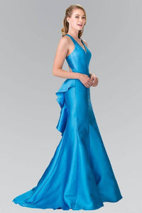 Elizabeth K GL2224 V-Neck Long Dress with Ruffles in Turquoise - SohoGirl.com