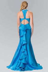 Elizabeth K GL2224 V-Neck Long Dress with Ruffles in Turquoise