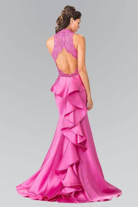Elizabeth K GL2227 High Neck Embroidered Bodice Dress with Ruffle in Back in Magenta