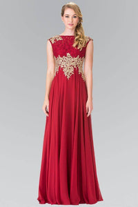 Elizabeth K GL2228 Lace Embroidered Top and Chiffon Long Sheer Dress in Burgundy