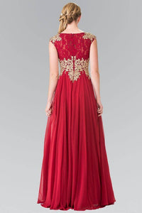 Elizabeth K GL2228 Lace Embroidered Top and Chiffon Long Sheer Dress in Burgundy - SohoGirl.com